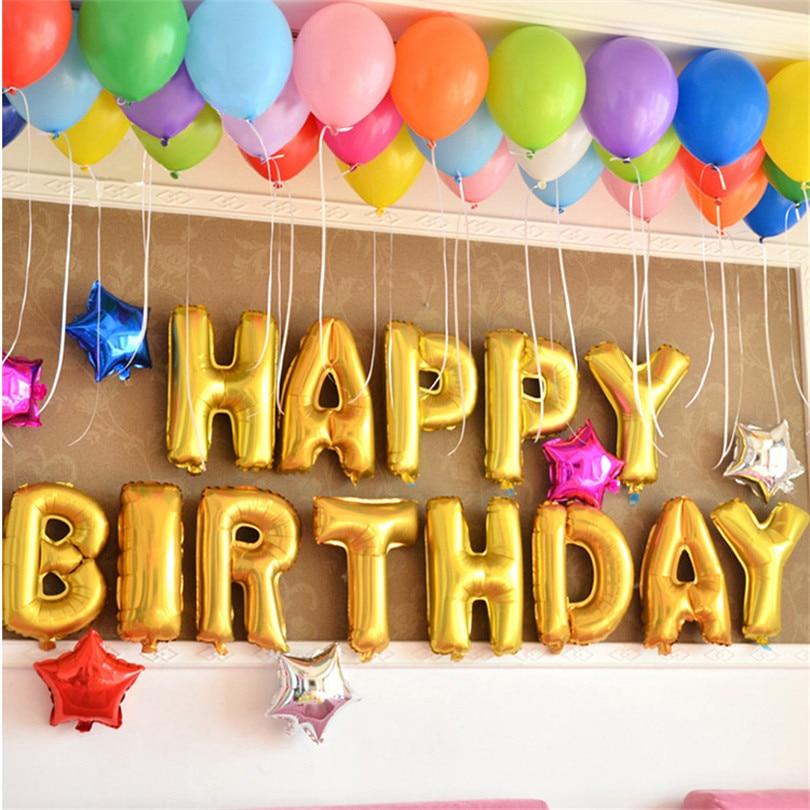 New 13pcs/lot gold Letter Happy Birthday BALLOON aluminum foil balloon baby birt