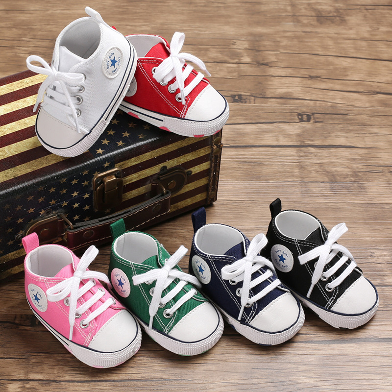 Brand Infant Canvas Stars First Walkers Soft Bottom Toddler Newborn Baby Sneakers Sports Baby Shoes Baby Moccasins Footwear