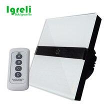 ФОТО free shipping, igreli luxury white crystal glass switch panel, eu standard,170~250v touch screen wall light switch