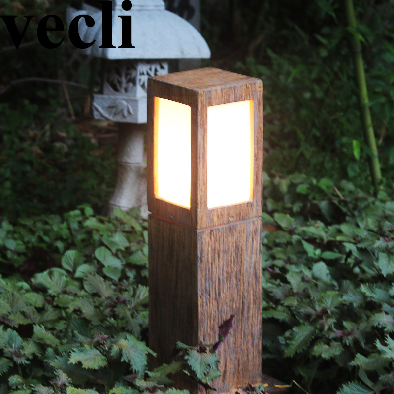 Chinese style creative resin led waterproof outdoor spotlight villa residential corridor driveway light post цена