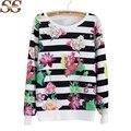 2016 Nueva Otoño Invierno Mujeres Sudaderas Sweatershirt Pullover Floral Impreso Algodón de manga larga Al Por Mayor de Las Mujeres Sudaderas Mujer