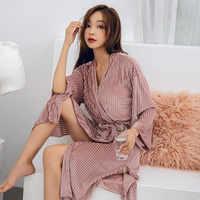 Automne or velours femmes peignoir à manches longues noir col en v ceintures fendu Kimono femmes Robes 2020 été printemps femmes nuisettes