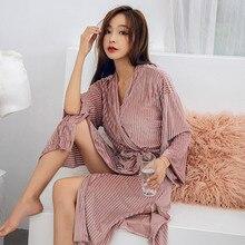 Autumn Gold Velvet Women's Bathrobe Long Sleeve Black V-Neck Sashes Split Kimono Female Rob
