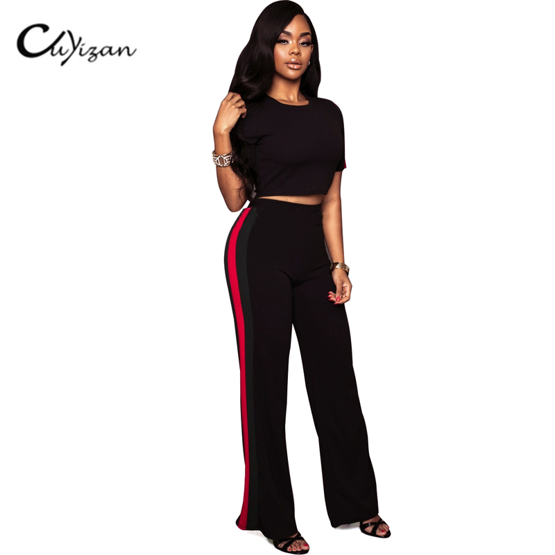 CUYIZAN Fashion Women 2 Pieces Pants Rompers Womens Jumpsuit Sexy Bodycon O-Neck Long Sleeve Two Pieces Outfits striped Playsuit