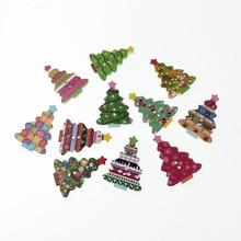 50Pcs Fancy Bulk Mixed Christmas Tree Wood Button Sewing Accessories Decorative Buttons Handmade Scrapbooking Craft DIY 25*35mm