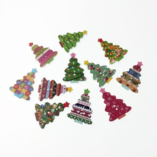 50Pcs Fancy Bulk Mixed Christmas Tree Wood Button Sewing Accessories Decorative Buttons Handmade Scrapbooking Craft DIY 25*35mm