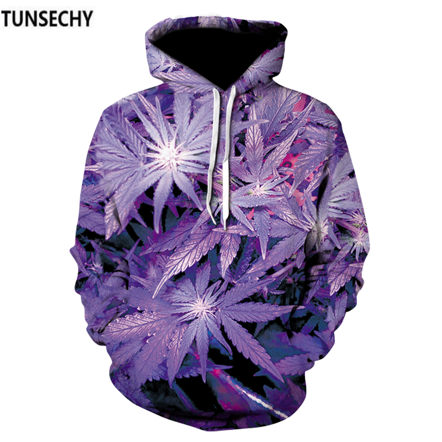 TUNSECHY Nice Purple Leaves Print Men/Women Hoodies With Cap Casual Tracksuits 3D Sweatshirts Couple Autumn Winter Hoody