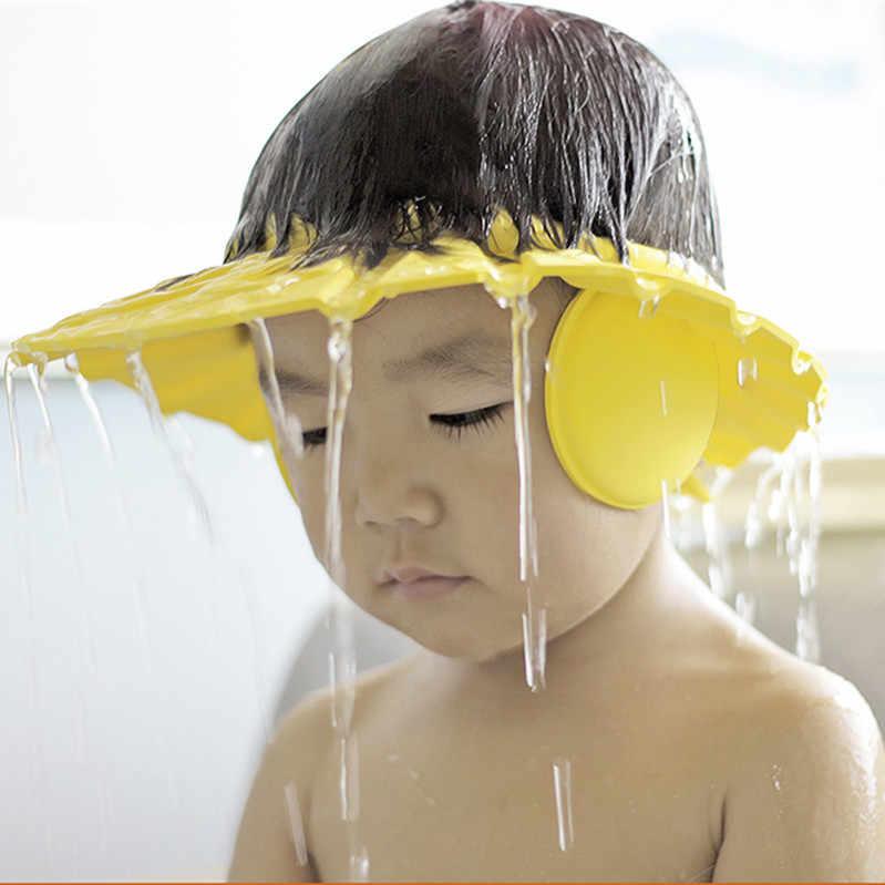 Criança bebê crianças banho chuveiro olho protetor de ouvido cabeça capa de lavagem cabelo boné cor aleatória