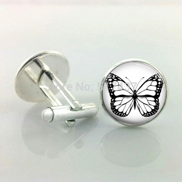 1 Pair Butterfly Cufflinks, Handmade Cufflinks,  Photo Custom Made Cufflinks For Mens And Women High Quality