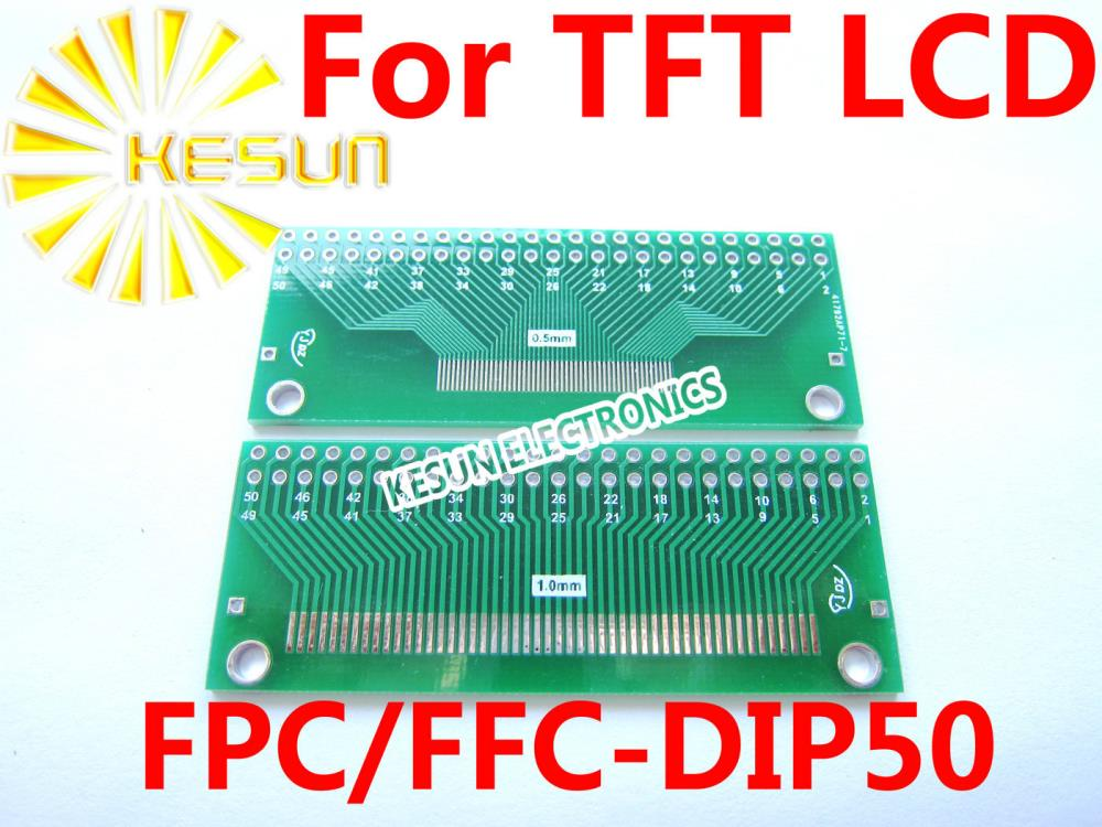 FREE SHIPPING 20PCS FPC FFC turn DIP 50P 0.5/1.0MM Pitch IC adapter Socket / Adapter plate PCB for TFT LCD