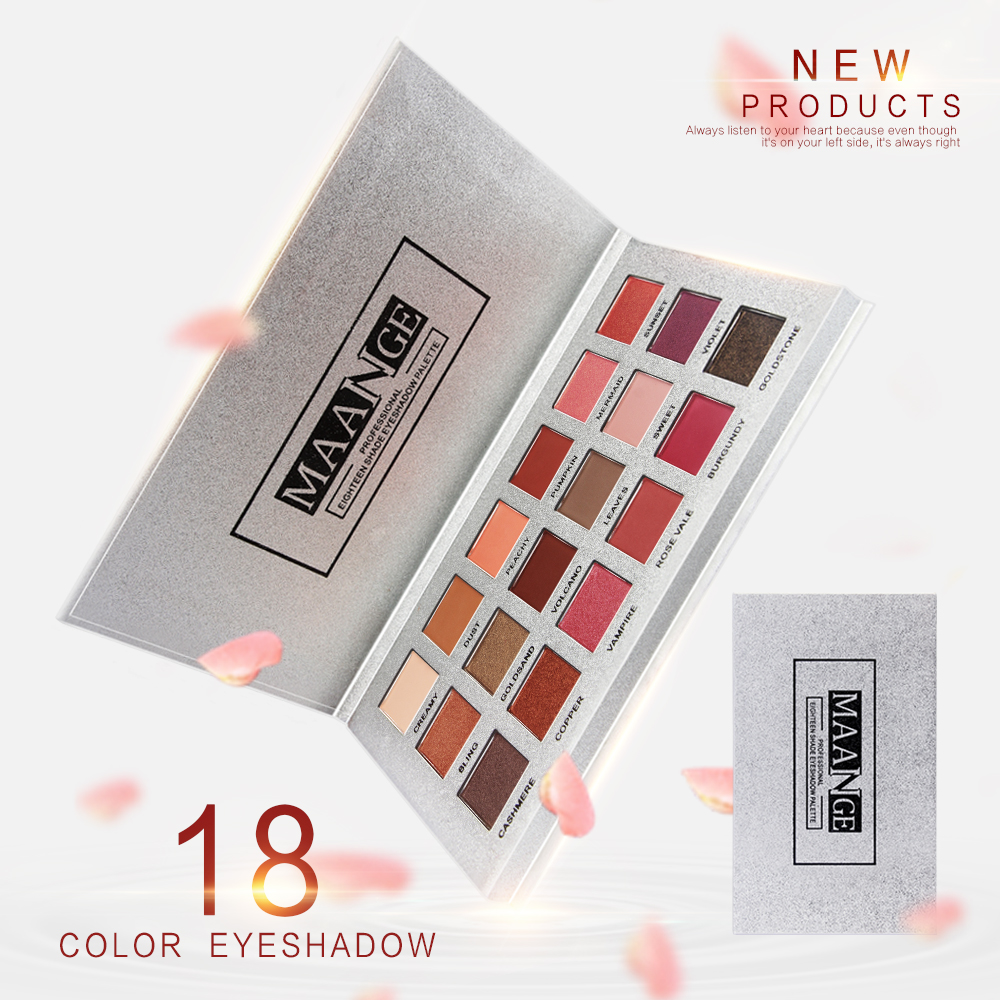 MAANGE 18 Full Color Matte Diamond Glitter Eyeshadow Palette Makeup Eyeshadow Palette Professional Cosmetics Eye shadow