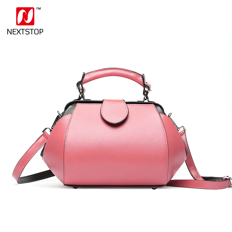 NEXTSTOP 2018 New Handbags Women Korean Fashion Shoulder bag Messenger bag Simple Hit color Doctor bag Split Leather Tote 8033 etersto2018 new casual fashion stitching hit color handbags new fashion handbags parker women s party wallets ms messenger bag