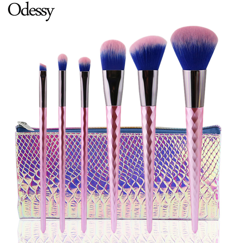ODESSY 6PCS High Quality Unicorn diamond Makeup Brushes Set Pink color Facial Foundation Cosmetic Make up Brush Kit with Bag