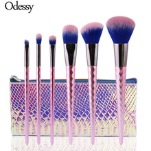 Фотография ODESSY 6PCS High Quality Unicorn diamond Makeup Brushes Set Pink color Facial Foundation Cosmetic Make up Brush Kit with Bag