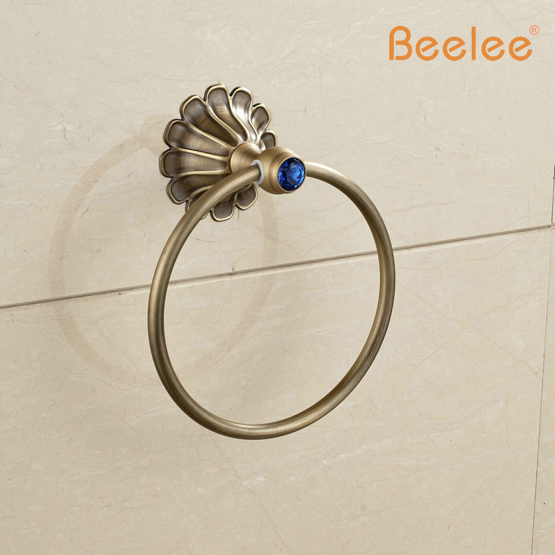 Beelee BA7611A  Free Shipping Wholesale and Retail Blue and White Porcelain Style Bathroom Towel Ring /shelf Brass Towel Rack free shipping magnetize for screwdriver plus porcelain degaussing degaussing minus porcelain disassemble charge sheet