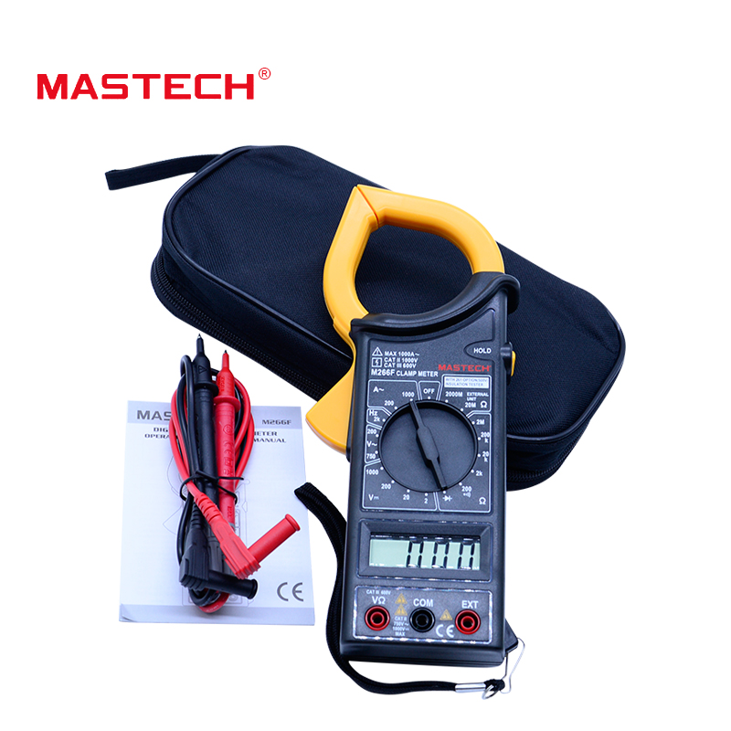 Digital clamp meter MASTECH M266F AC DC Voltage Current frequency Resistance Diode Tester with 3 1/2 digital LCD display mastech ms2001c digital clamp meter ac dc voltage tester detector with diode and backlight