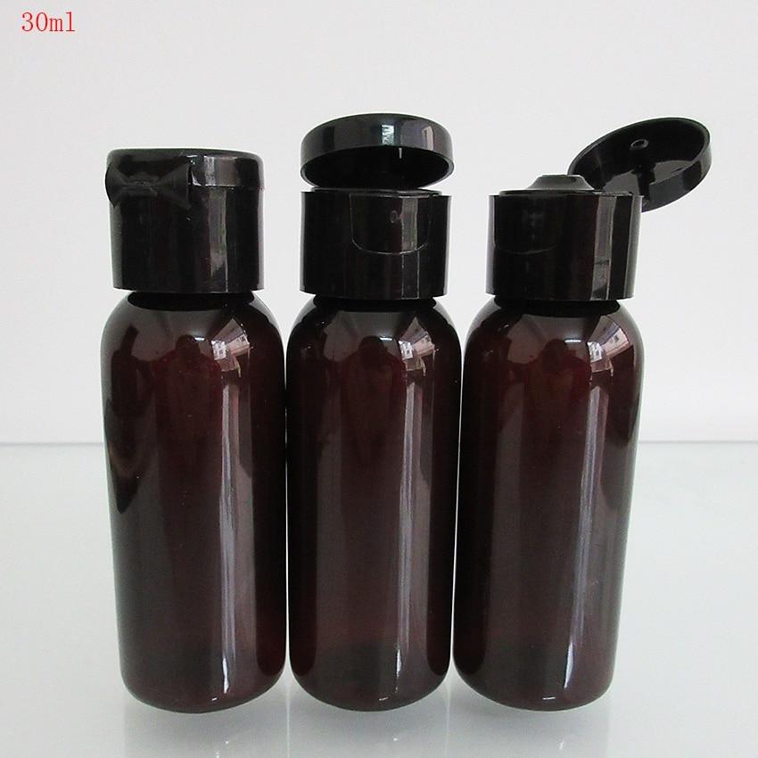 10pcs 1OZ/30ml Amber Bottle PET Plastic Empty Refillable Bottle For Tatto Ink,Eliquid,interchangeable Round Bottle With Flip Cap