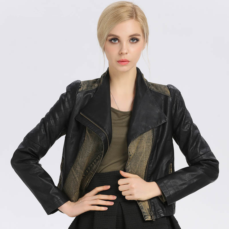 Spring Autumn Denim Patchwork Women Zipper PU Leather Jacket Black Motorcycle Tops Jacket High Quality Slim Fashion Outwear