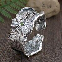 Thai Silver Lotus Cuff Bracelet Bangles For Women Silver Bangle Bracelets & Bangles Jewelry Pulseiras Brazalete Dia6cm SBR0002