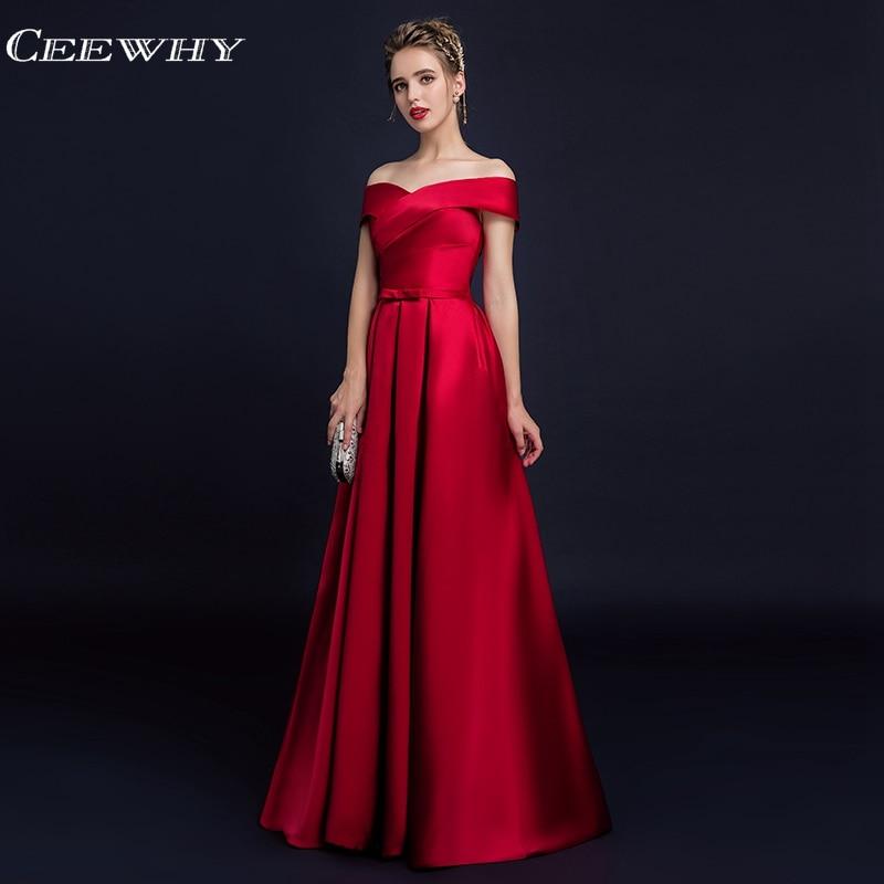 f8fd896bb35d6 CEEWHY Off Shoulder Burgundy Satin Dress Elegant Evening Dress Long Prom  Dresses Vestido Largo Kaftan Evening Gown Abendkleider