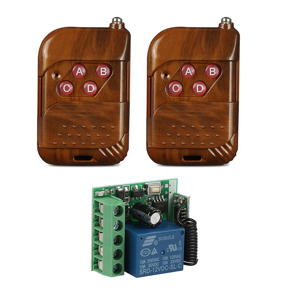 433MHz RF 4 Channel Learning Code 1527 Wireless Remote Control Key Fob Transmitter And 433 MHz RF 12V 1 CH Relay Receiver Module