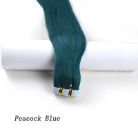 Fashion Color New Arrival Superior Quality Russian Virgin Remy Human Hair Tape in Hair Extensions red/blue/green/burg color