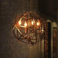 American retro промышленного ветер кафе железа мяч 4 * E14 люстры лампа Пандоры Лофт Творческое начало деко гостиная люстры