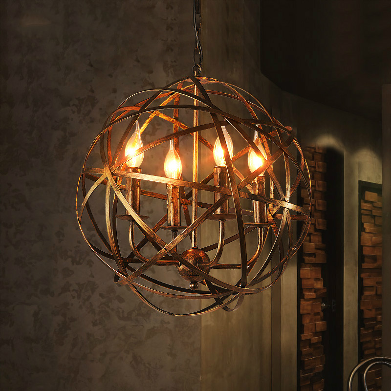 American retro industrial wind cafe iron ball 4*E14 bulb chandeliers Europeab loft creative home deco living room chandeliers|bulb chandelier|room chandelier|retro industrial - title=