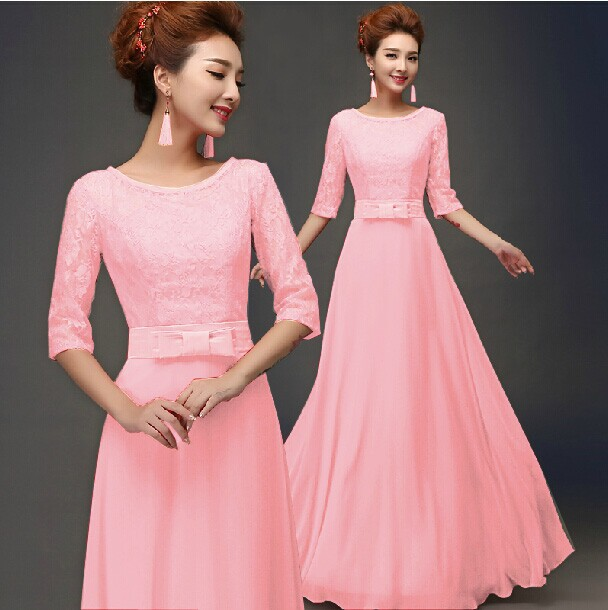 494b665a1eed0 US $18.99 |2015 Sexy Half Lace Sleeve Hollow Out Maxi Dress Elegant Long  Chiffon Evening Dress 6 color and 2 style design wedding dress-in Dresses  ...
