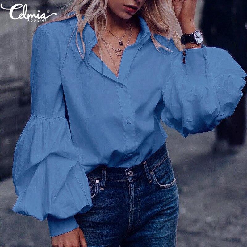 Vintage Beiläufige Lange Puff Sleeve Solide Bluse und Tops Celmia 2019 Herbst Lose Knöpfe Plissee Tunika Shirts Plus Größe Blusas 5XL