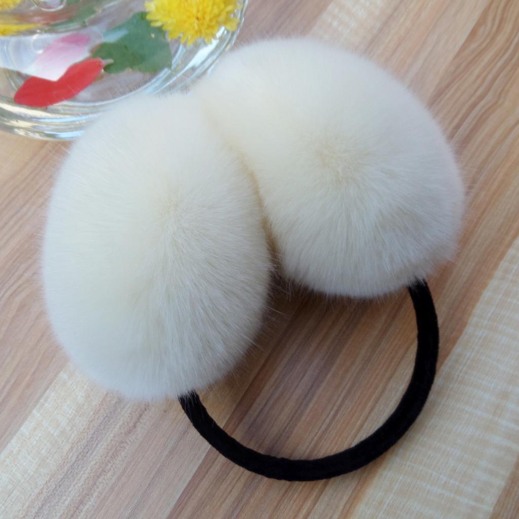 Cute Soft Rabbit Fur Earmuff Faux Rex  Fur Hair Earmuffs Winter Warm Leather Ear Decor Head Decoration White Multicolor Earmuffs