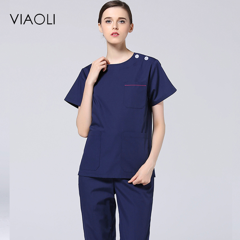 Viaoli 2017 High-quality medical uniforms hospital doctors nurses uniforms for men and women short-sleeved wash clothes suit ai lianxin new women doctors and nurses surgical caps hat cotton cap and short hair with sweatbands alx 114