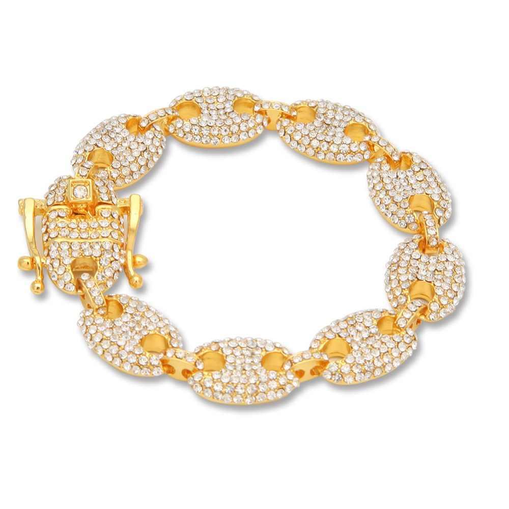 UWIN 13mm ziarna kawy Rhinestone bransoletka łańcuch Hip hop złoty Link moda Punk Choker piękna biżuteria 8 cal