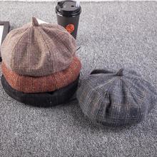 Zimowa czapka z daszkiem tweedowa czapka z daszkiem czapka z daszkiem czapka z daszkiem Gorras Planas tanie tanio EODJCUE Ośmioboczna Kapelusze H-306 Plaid WOMEN Poliester Katoen Polyester Striped