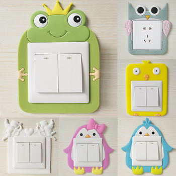 1PC Creative Power Socket Stickers Luminous Silicone Home Decoration Cartoon Waterproof Cute Switch Wall