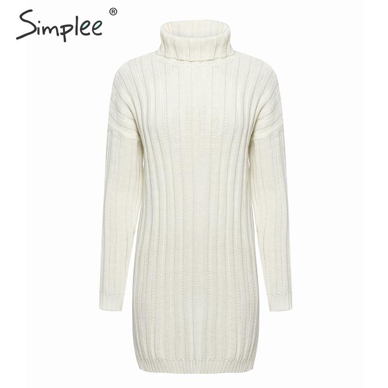 Simplee Elegant knitted dress women Autumn turtle neck female white sweater dress Sexy holiday solid ladies winter teal vestidos