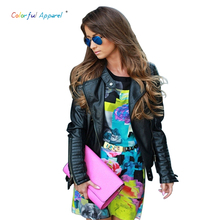 Colorful Apparel Brand  Quality Guaranteed Women PU Leather Jacket Black Long Sleeve Zipper Leather Motorcycle Jackets HW01D4C