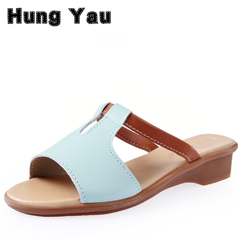 Summer Style Women Shoes Genuine Leather Casual Cool Slippers Female Flat Sandals New Soft Bottom Beach Slippers Plus Size 9 new 2016 women rhinestone gladiator sandals summer flat casual shoes beach slippers size 35 39