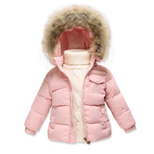 Winter style Girls down jacket Boys girl Children toddler down jacket Fur collar Hooded thicker coat newborn baby Out clothes