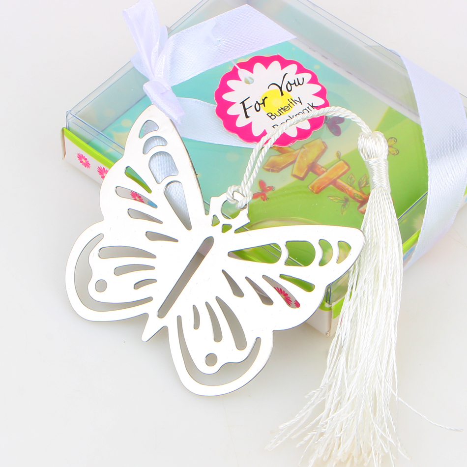 2017 Hollow Butterfly Bookmarks Metal With Mini Greeting Cards Tassels Kawaii Stationery Pendant Gifts Wedding Favors