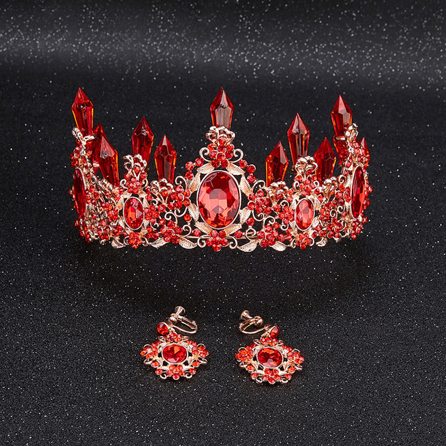 New Fashion Luxurious red Crystal Queen Crown tiaras Magnificent