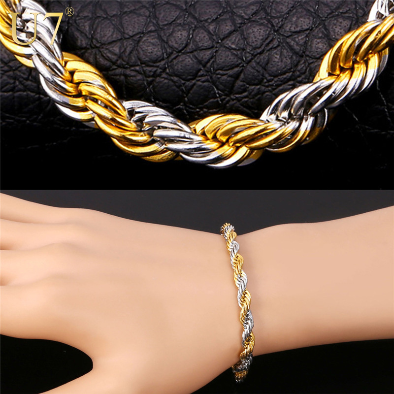 U7 Hiphop Two Tone Bracelet Men Jewelry Gold Color 316l Stainless Steel 5 Mm 22cm Rope Chain H700 In Link Bracelets From