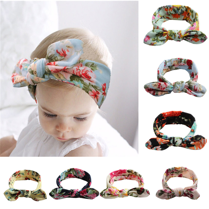 BABY Lovely Bowknot Elastic Head Bands For Baby Girls Headband For Children Tuban Baby Baby Accessories Floral Hair Headband