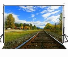 7x5ft Backdrop Empty Railroad Tracks Green Trees and Grasses Photography Background Studio Props