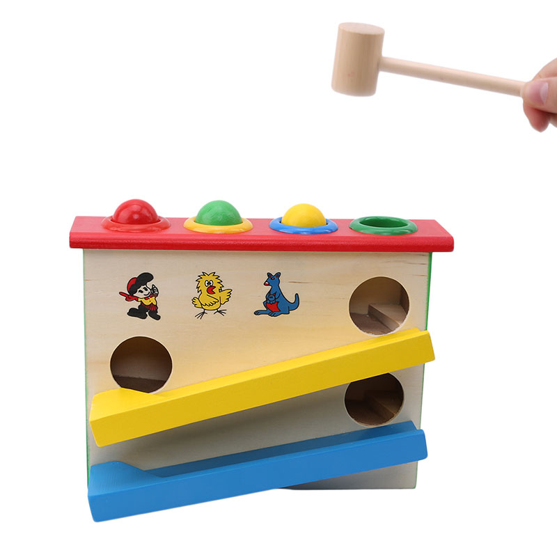 Hand-Hammering-Ball-Box Baby Noise-Maker Wooden Kids Knock-Ball Educational Early-Learning