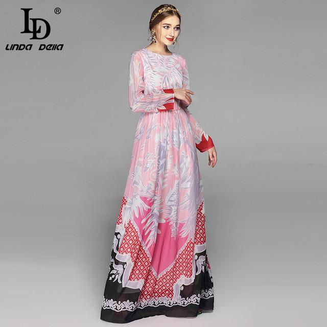 High Quality New Fashion Brand Maxi Dresses Long Sleeve Women Floor Length Boho Beach Splendid Floral Printed Long Dress