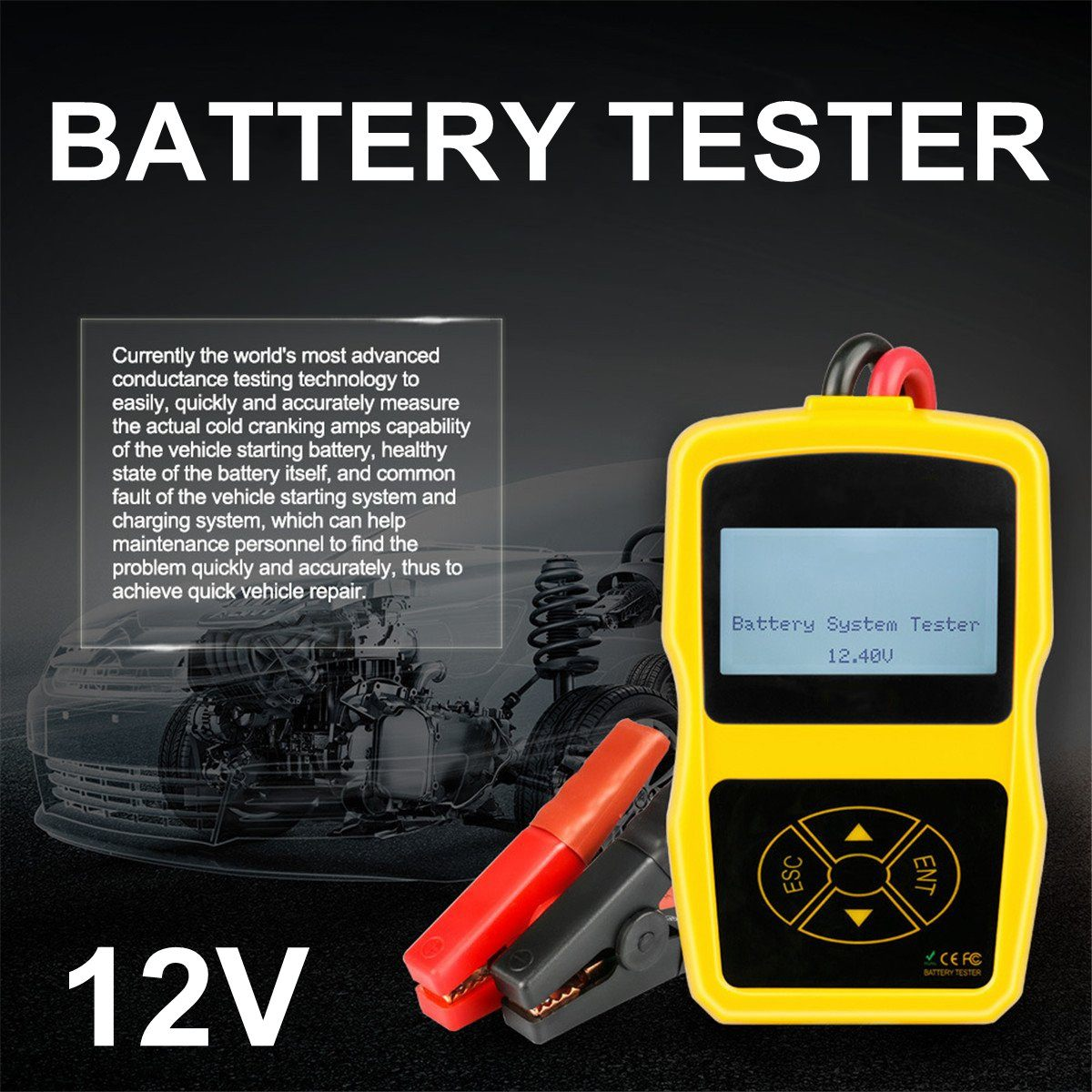 12V Car Battery Tester LCD Display Digital Automotive Diagnostic Battery Tester Analyzer Vehicle Cranking Charging Scanner Tool