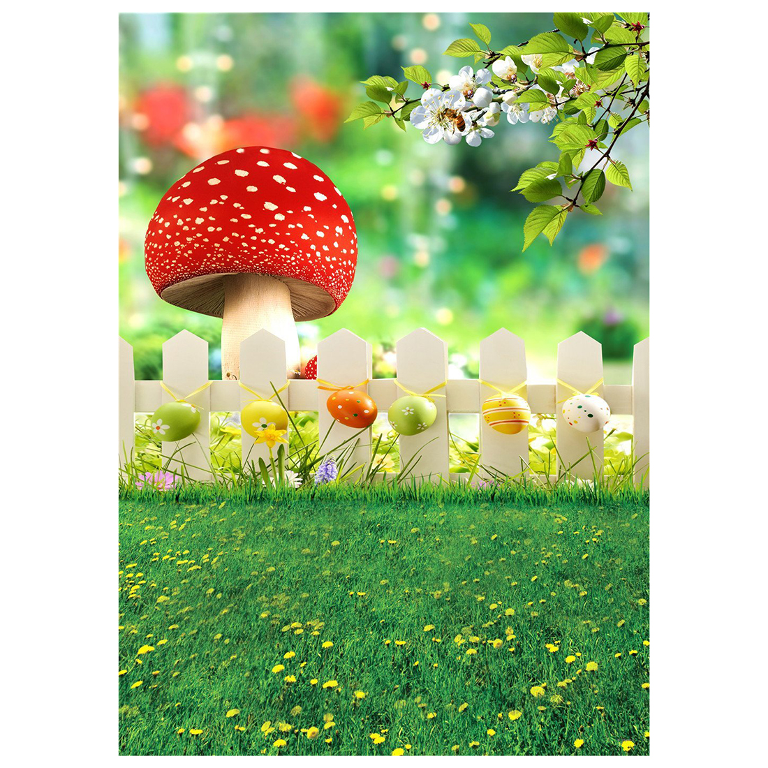 3x5ft Easter Backdrops Natural Scenery Spring Photography Studio Yellow Flowers Colorful Eggs Photo Background for Children Ba