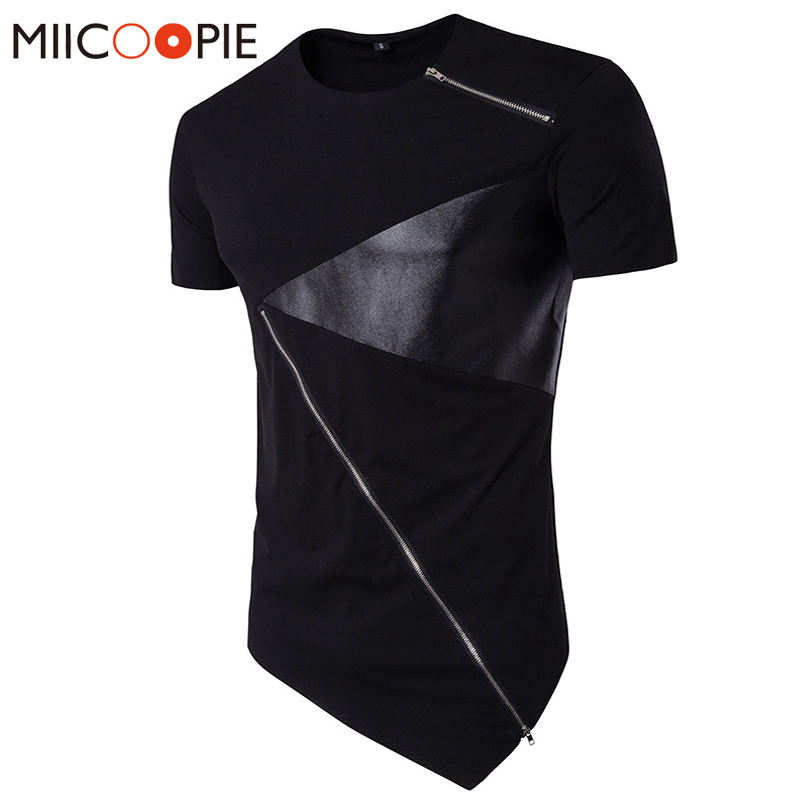T Shirt Men 2018 Personality Tailoring Long Patchwork Leather Zipper T-shirt Men Hiphop Short Sleeve Longline Casual Top Tee