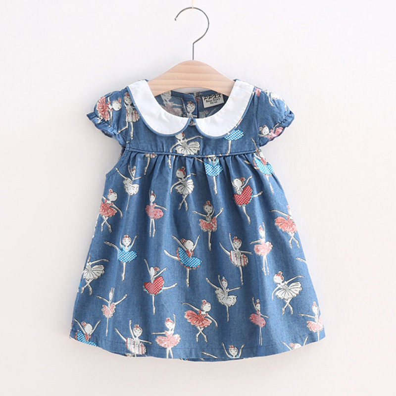 BibiCola Infant Girls Dress Full Print girl butterfly clothes Toddler Princess Dress Girls 2017 Summer Clothing Cotton clothes bibicola cartoon children jeans dress baby girls cotton leisure overalls dress fashion toddler girl denim dress for summer